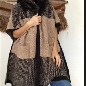 Zara Knit Poncho with Faux Fur